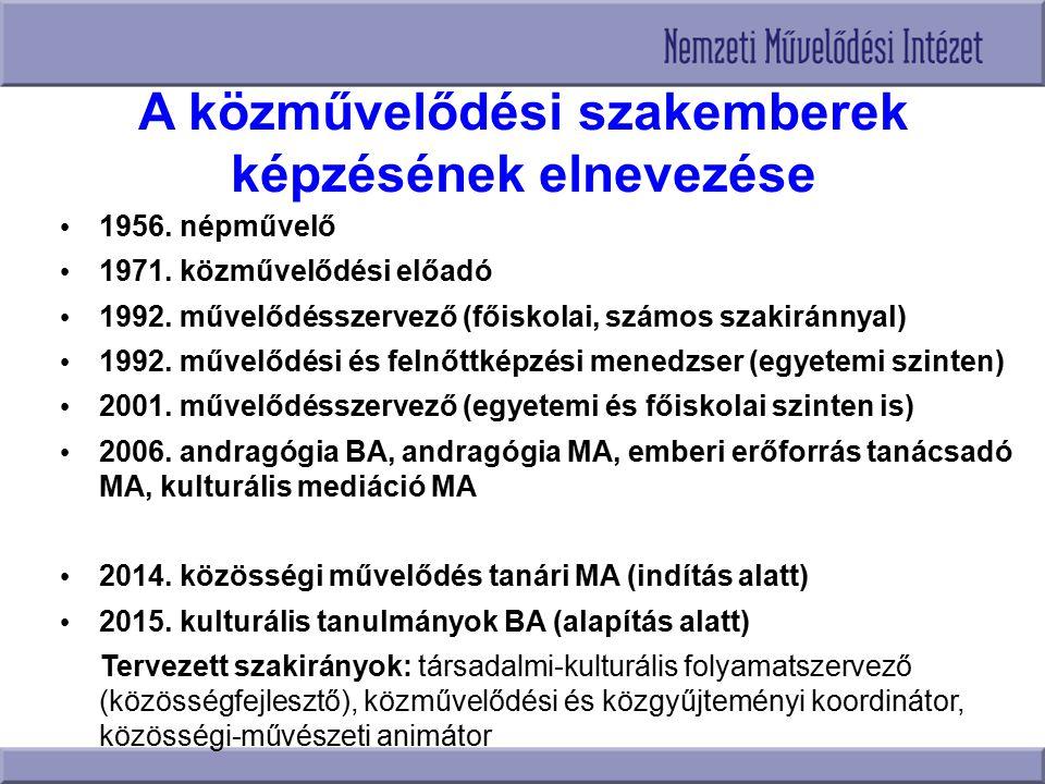 A közművelődési szakemberek képzésének elnevezése 1956. népművelő 1971. közművelődési előadó 1992. művelődésszervező (főiskolai, számos szakiránnyal)