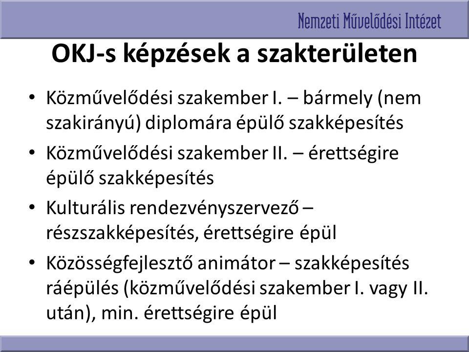OKJ-s képzések a szakterületen Közművelődési szakember I. – bármely (nem szakirányú) diplomára épülő szakképesítés Közművelődési szakember II. – érett