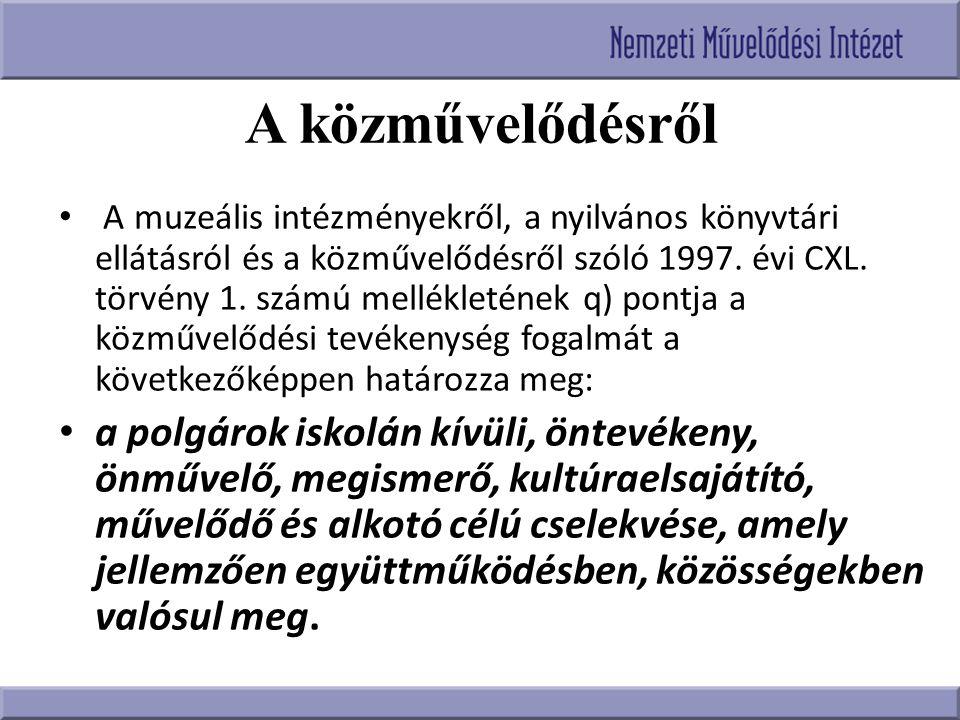 A közművelődésről A muzeális intézményekről, a nyilvános könyvtári ellátásról és a közművelődésről szóló 1997. évi CXL. törvény 1. számú mellékletének