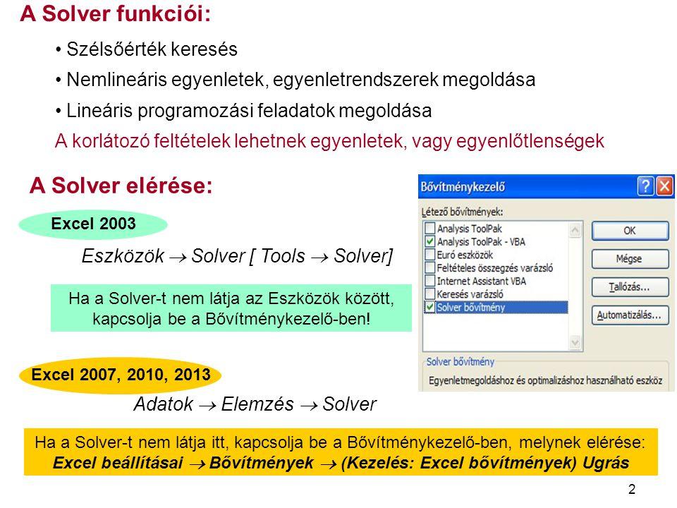 2 Ha a Solver-t nem látja az Eszközök között, kapcsolja be a Bővítménykezelő-ben! Excel 2003 A Solver funkciói: Szélsőérték keresés Nemlineáris egyenl