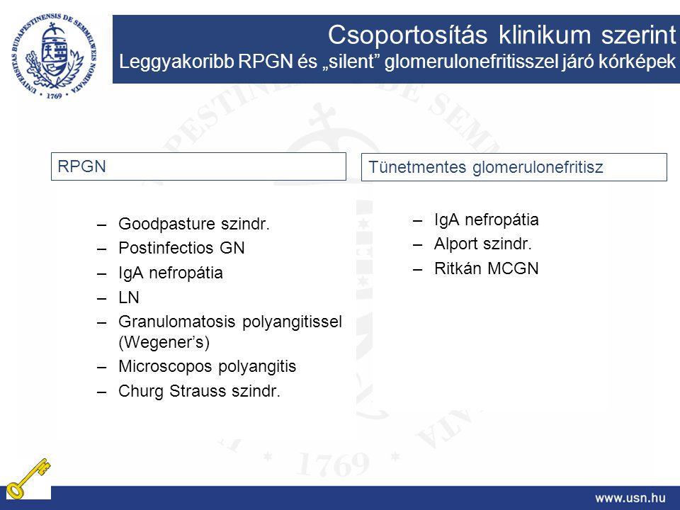 –Goodpasture szindr. –Postinfectios GN –IgA nefropátia –LN –Granulomatosis polyangitissel (Wegener's) –Microscopos polyangitis –Churg Strauss szindr.