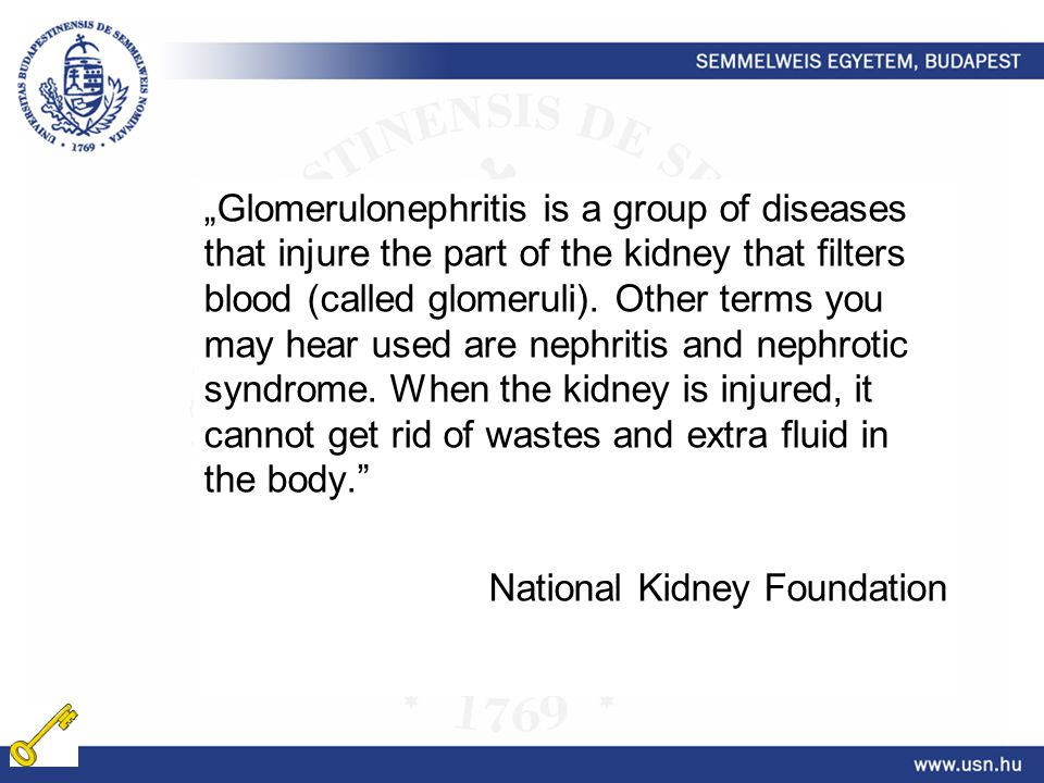 """Glomerulonephritis is a group of diseases that injure the part of the kidney that filters blood (called glomeruli)."