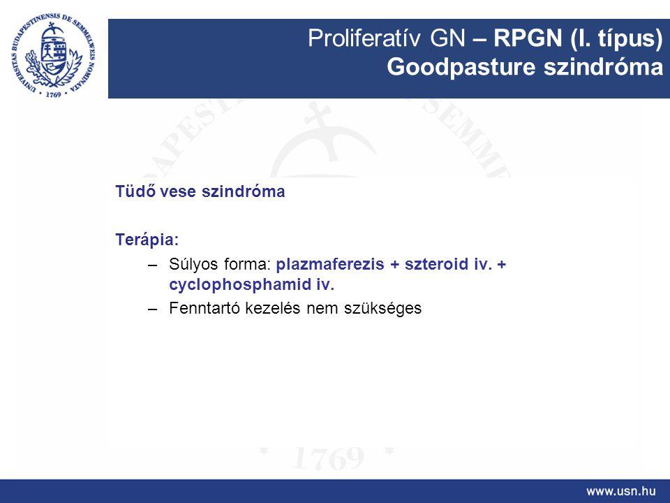 Proliferatív GN – RPGN (I. típus) Goodpasture szindróma Tüdő vese szindróma Terápia: –Súlyos forma: plazmaferezis + szteroid iv. + cyclophosphamid iv.