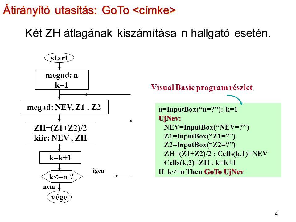 "4 megad: n k=1 megad: NEV, Z1, Z2 ZH=(Z1+Z2)/2 kiír: NEV, ZH k=k+1 k<=n ? vége start nem igen n=InputBox(""n=?""): k=1UjNev: NEV=InputBox(""NEV=?"") Z1=In"