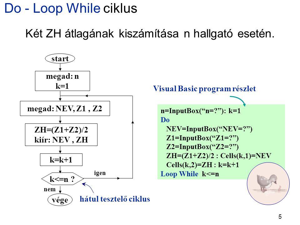 5 Do - Loop While ciklus hátul tesztelő ciklus n=InputBox( n=? ): k=1 Do NEV=InputBox( NEV=? ) Z1=InputBox( Z1=? ) Z2=InputBox( Z2=? ) ZH=(Z1+Z2)/2 : Cells(k,1)=NEV Cells(k,2)=ZH : k=k+1 Loop While k<=n Visual Basic program részlet Két ZH átlagának kiszámítása n hallgató esetén.