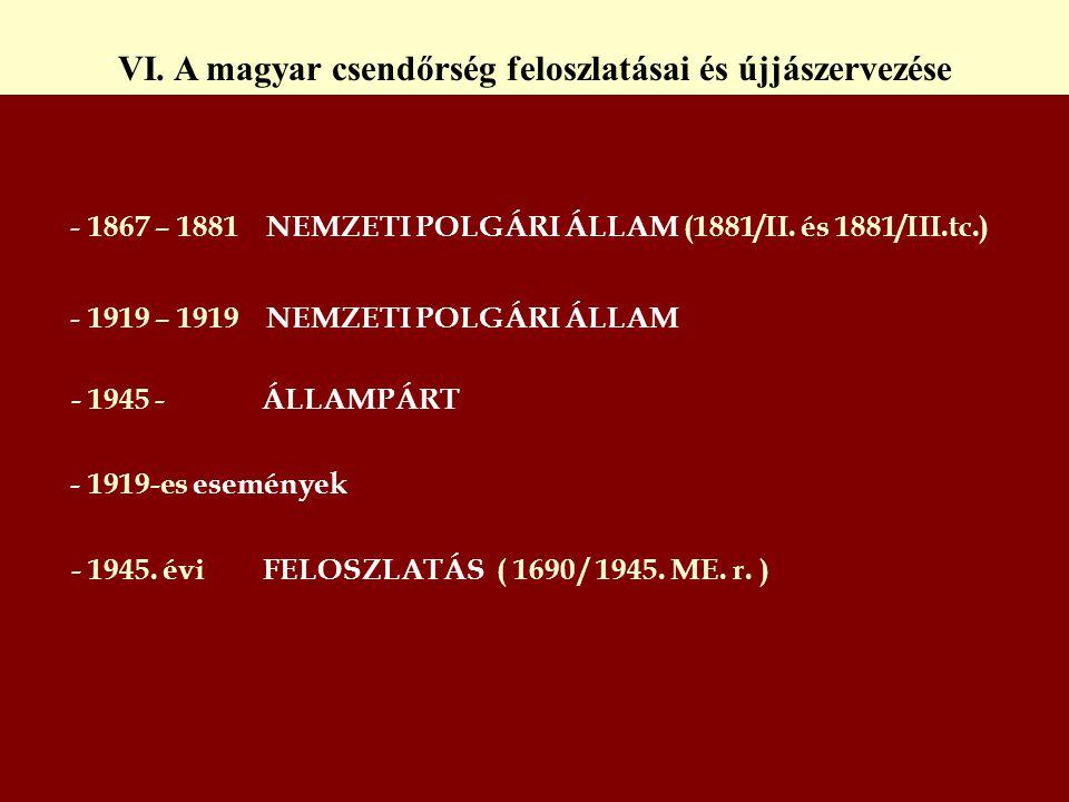 - 1867 – 1881 NEMZETI POLGÁRI ÁLLAM (1881/II. és 1881/III.tc.) - 1919 – 1919 NEMZETI POLGÁRI ÁLLAM - 1945 - ÁLLAMPÁRT - 1919-es események - 1945. évi