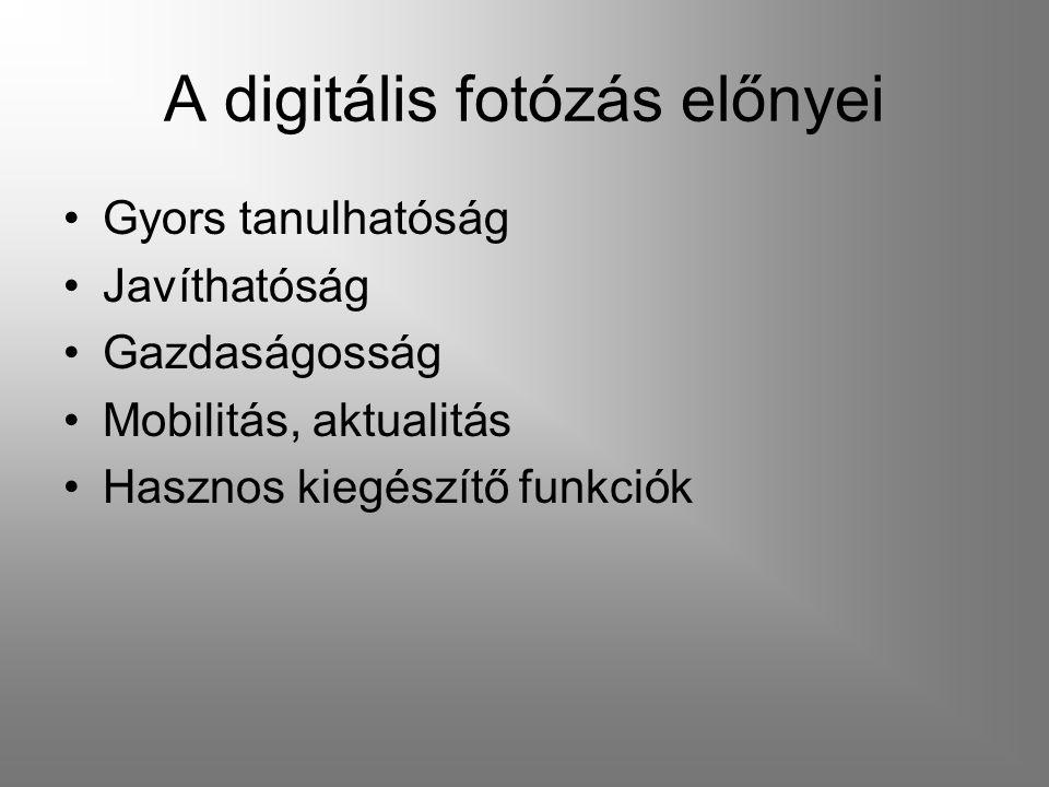 A digitális fotózás előnyei Gyors tanulhatóság Javíthatóság Gazdaságosság Mobilitás, aktualitás Hasznos kiegészítő funkciók