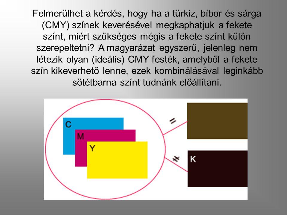 Felmerülhet a kérdés, hogy ha a türkiz, bíbor és sárga (CMY) színek keverésével megkaphatjuk a fekete színt, miért szükséges mégis a fekete színt külö