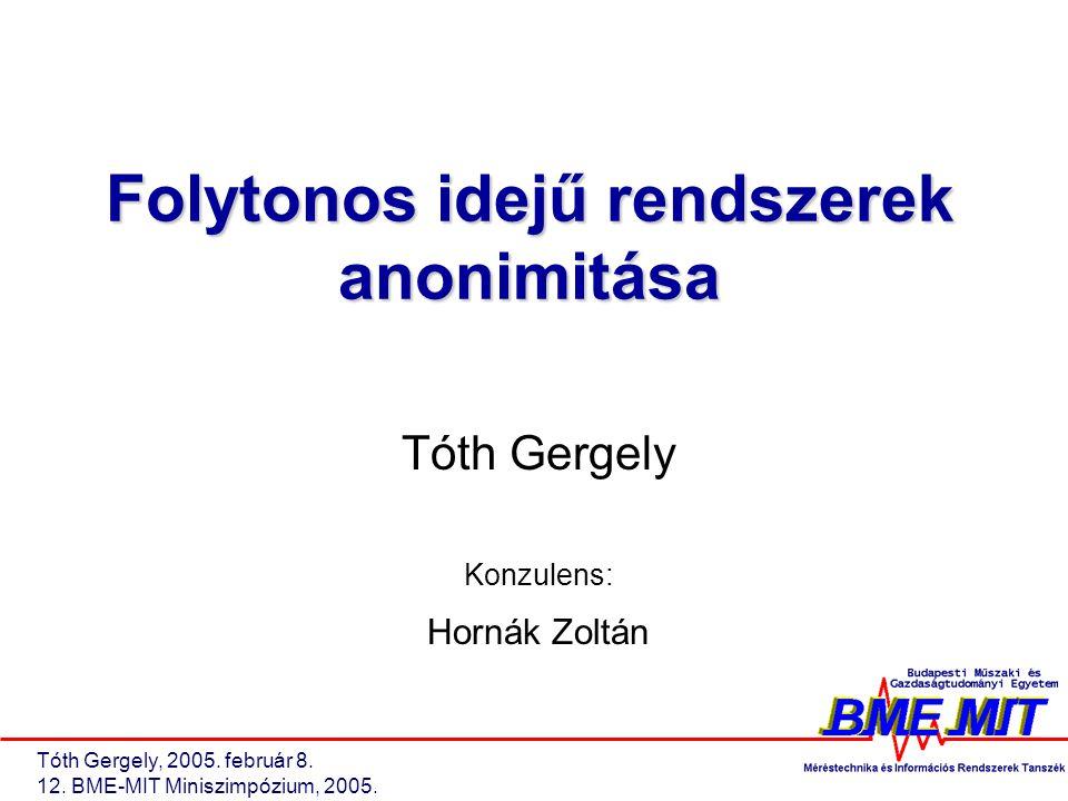 Tóth Gergely, 2005. február 8. 12. BME-MIT Miniszimpózium, 2005.