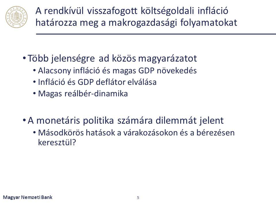 A rendkívül visszafogott költségoldali infláció határozza meg a makrogazdasági folyamatokat Több jelenségre ad közös magyarázatot Alacsony infláció és