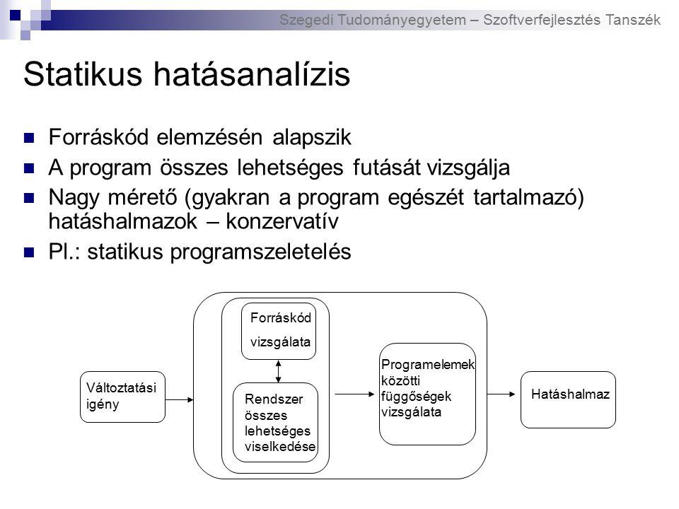 Szegedi Tudományegyetem – Szoftverfejlesztés Tanszék Statikus hatásanalízis Forráskód elemzésén alapszik A program összes lehetséges futását vizsgálja Nagy mérető (gyakran a program egészét tartalmazó) hatáshalmazok – konzervatív Pl.: statikus programszeletelés Változtatási igény Forráskód vizsgálata Rendszer összes lehetséges viselkedése Hatáshalmaz Programelemek közötti függőségek vizsgálata