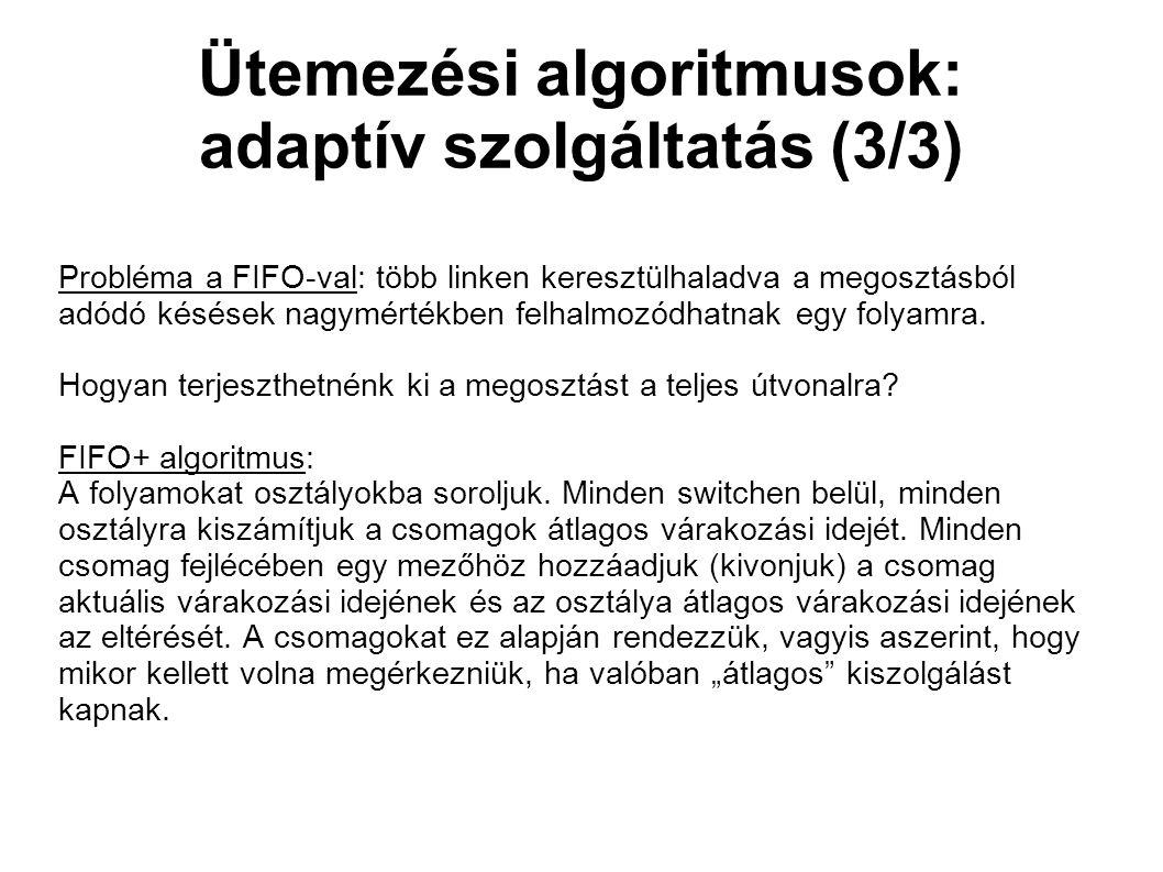 Ütemezési algoritmusok: adaptív szolgáltatás (3/3) Probléma a FIFO-val: több linken keresztülhaladva a megosztásból adódó késések nagymértékben felhalmozódhatnak egy folyamra.