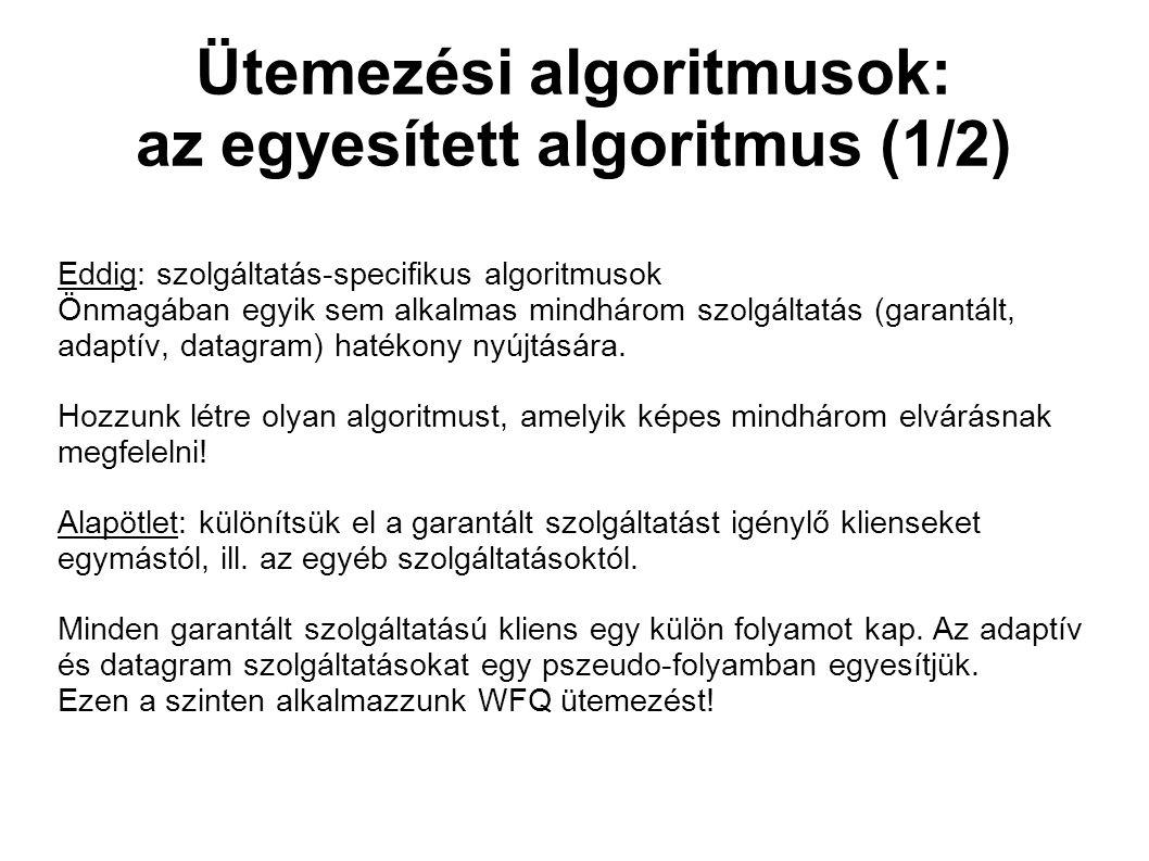 Ütemezési algoritmusok: az egyesített algoritmus (1/2) Eddig: szolgáltatás-specifikus algoritmusok Önmagában egyik sem alkalmas mindhárom szolgáltatás (garantált, adaptív, datagram) hatékony nyújtására.