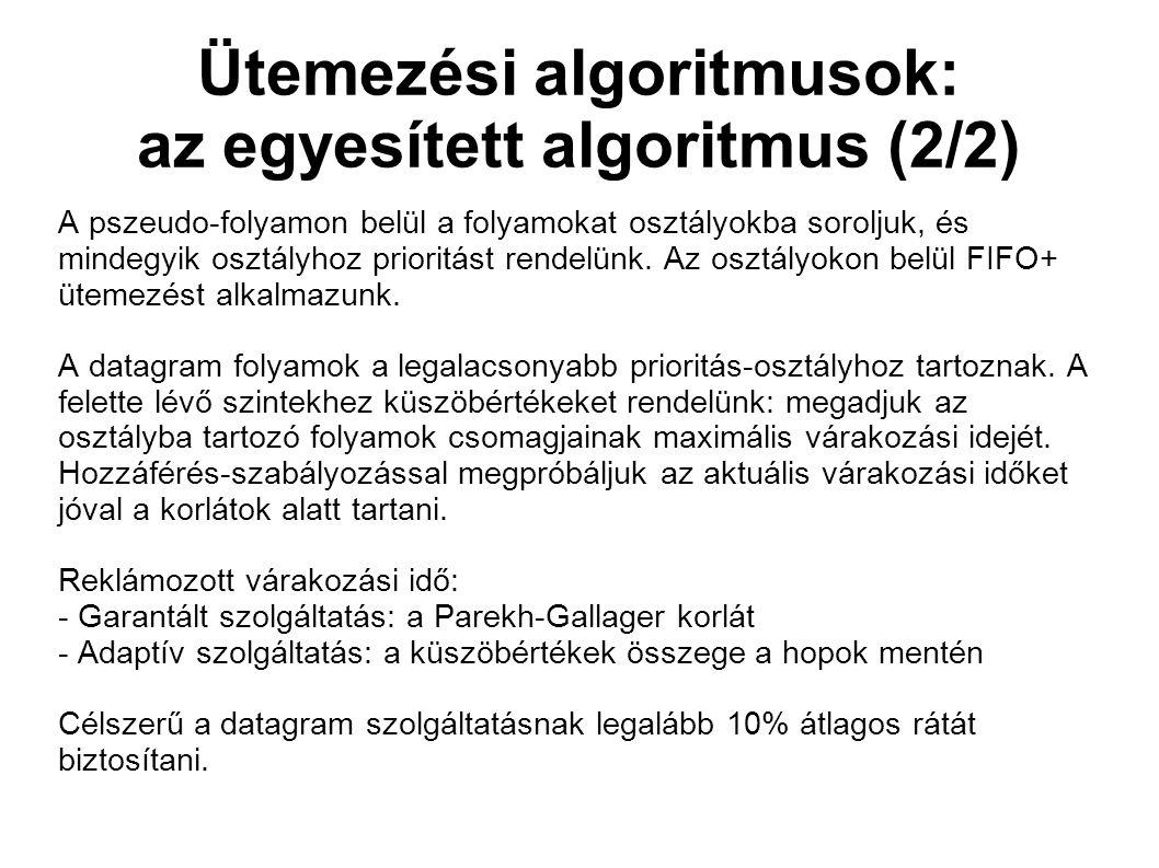 Ütemezési algoritmusok: az egyesített algoritmus (2/2) A pszeudo-folyamon belül a folyamokat osztályokba soroljuk, és mindegyik osztályhoz prioritást rendelünk.