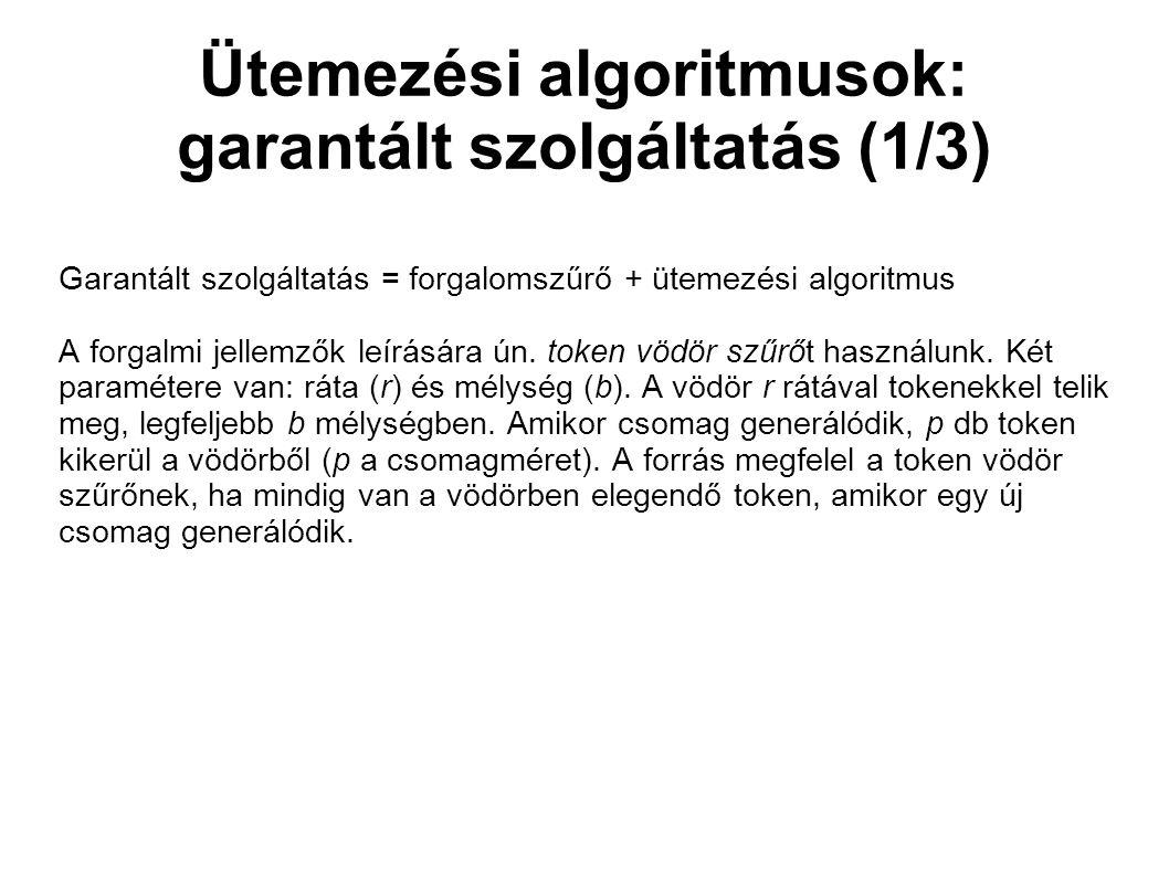 Ütemezési algoritmusok: garantált szolgáltatás (1/3) Garantált szolgáltatás = forgalomszűrő + ütemezési algoritmus A forgalmi jellemzők leírására ún.