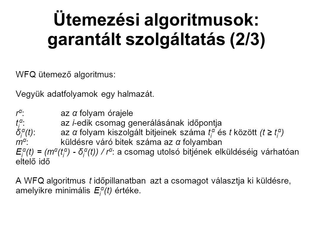 Ütemezési algoritmusok: garantált szolgáltatás (2/3) WFQ ütemező algoritmus: Vegyük adatfolyamok egy halmazát.