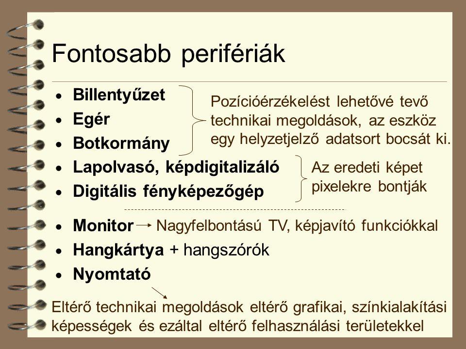 Fontosabb perifériák  Billentyűzet  Egér  Botkormány  Lapolvasó, képdigitalizáló  Digitális fényképezőgép  Monitor  Hangkártya + hangszórók  Nyomtató Pozícióérzékelést lehetővé tevő technikai megoldások, az eszköz egy helyzetjelző adatsort bocsát ki.