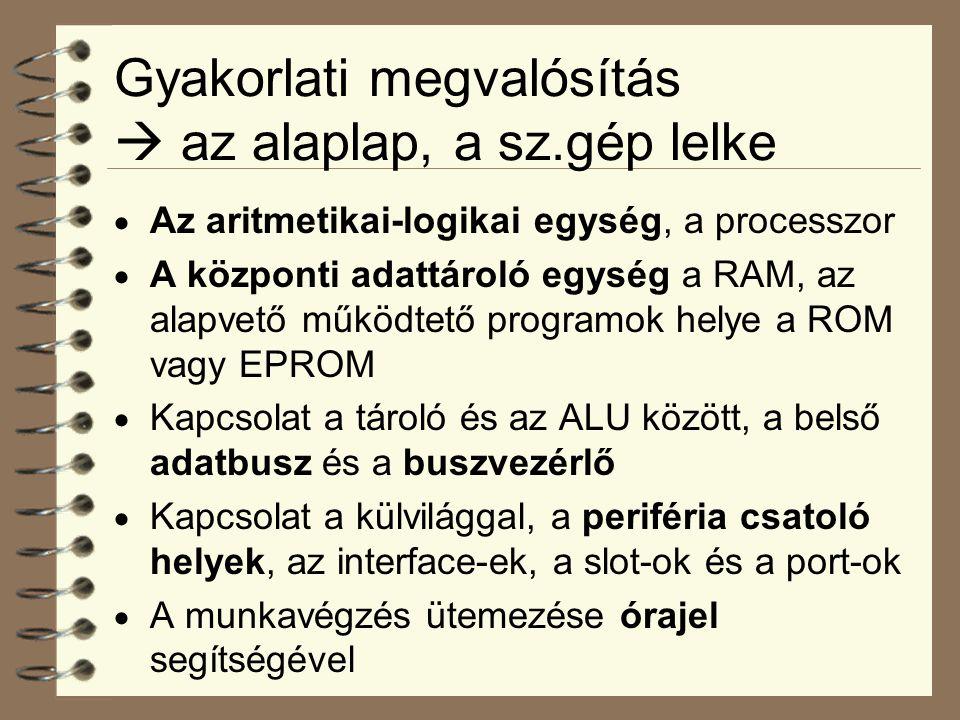 Gyakorlati megvalósítás  az alaplap, a sz.gép lelke  Az aritmetikai-logikai egység, a processzor  A központi adattároló egység a RAM, az alapvető működtető programok helye a ROM vagy EPROM  Kapcsolat a tároló és az ALU között, a belső adatbusz és a buszvezérlő  Kapcsolat a külvilággal, a periféria csatoló helyek, az interface-ek, a slot-ok és a port-ok  A munkavégzés ütemezése órajel segítségével