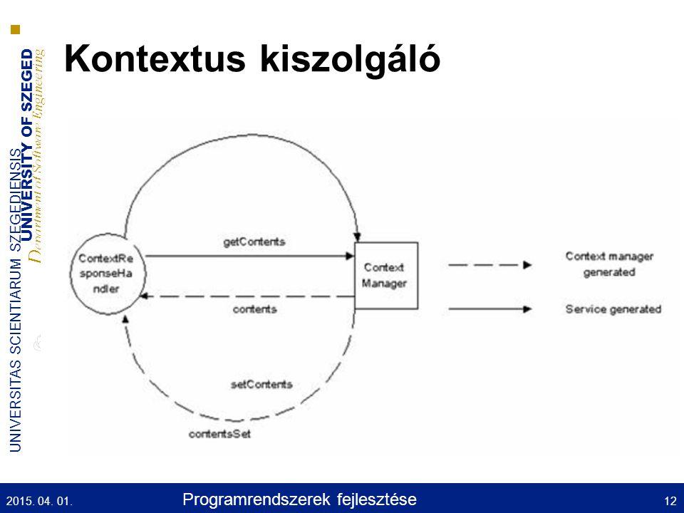 UNIVERSITY OF SZEGED D epartment of Software Engineering UNIVERSITAS SCIENTIARUM SZEGEDIENSIS Kontextus kiszolgáló 2015.