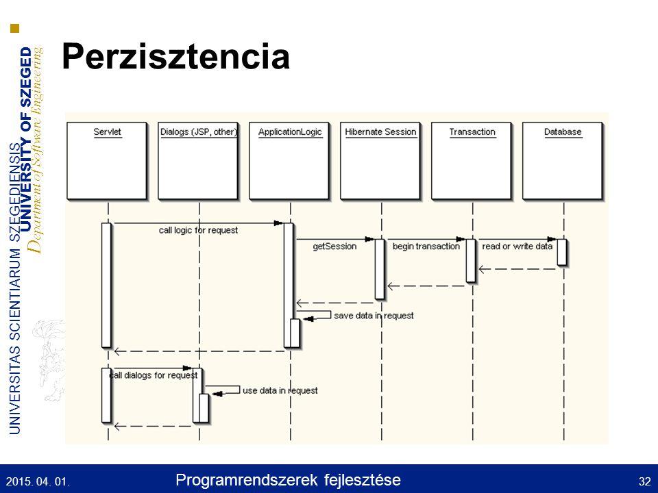 UNIVERSITY OF SZEGED D epartment of Software Engineering UNIVERSITAS SCIENTIARUM SZEGEDIENSIS Perzisztencia 2015.