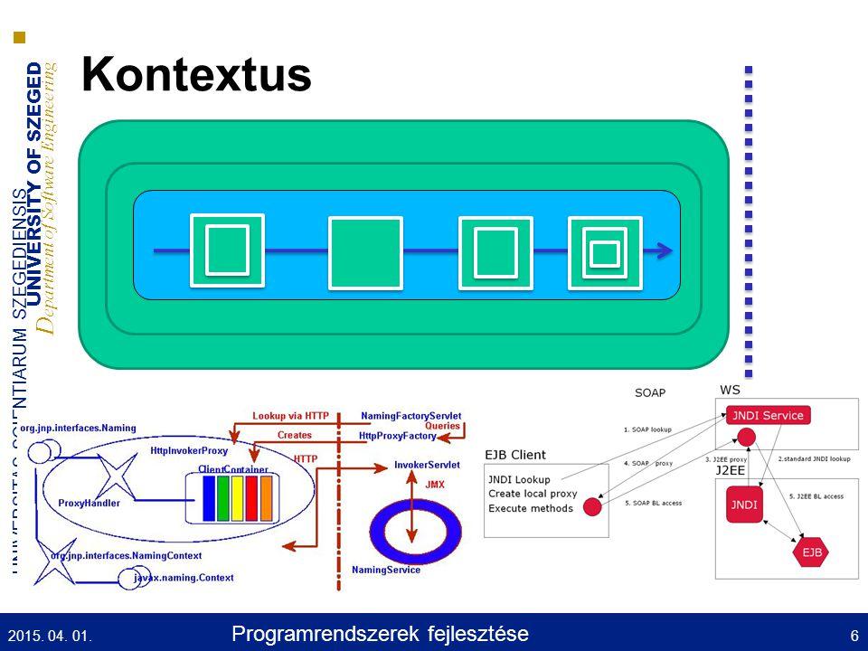 UNIVERSITY OF SZEGED D epartment of Software Engineering UNIVERSITAS SCIENTIARUM SZEGEDIENSIS WS-CAF  3 szabványból áll ■WS-Context, WS-Coordination keretrendszer és WS- Transaction Management ■Ezeket egymástól függetlenül is lehet használni  Egy nyílt keretrendszer mely lehetővé teszi több szolgáltatást biztosító alkalmazások együttes alkalmazását (alkalmazások kombinálását)  A kompozit alkalmazások közös információkat oszthatnak meg  Viszonyt ad a web szolgáltatás környezethez