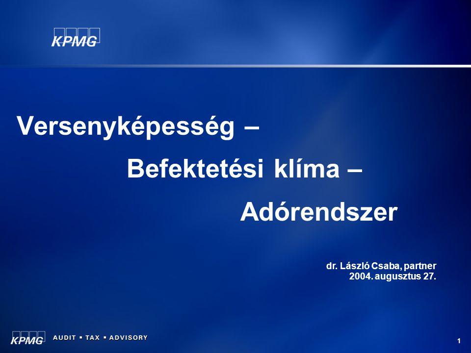 1 Versenyképesség – Befektetési klíma – Adórendszer dr. László Csaba, partner 2004. augusztus 27.