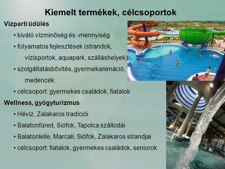 Vízparti üdülés kiváló vízminőség és -mennyiség folyamatos fejlesztések (strandok, vízisportok, aquapark, szálláshelyek) szolgáltatásbővítés, gyermekanimáció, medencék célcsoport: gyermekes családok, fiatalok Wellness, gyógyturizmus Hévíz, Zalakaros tradíciói Balatonfüred, Siófok, Tapolca szállodái Balatonlelle, Marcali, Siófok, Zalakaros strandjai célcsoport: fiatalok, gyermekes családok, seniorok Kiemelt termékek, célcsoportok