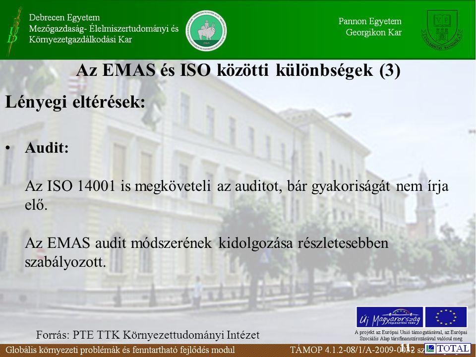 Az EMAS és ISO közötti különbségek (3) Lényegi eltérések: Audit: Az ISO 14001 is megköveteli az auditot, bár gyakoriságát nem írja elő.
