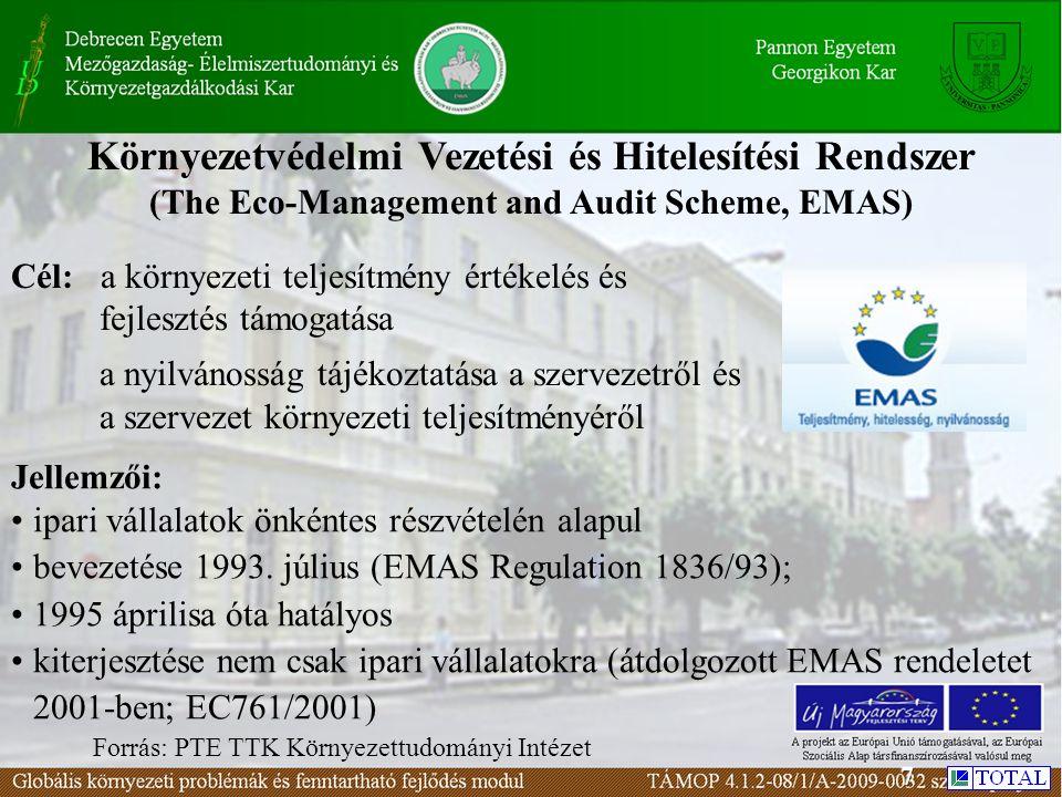 Környezetvédelmi Vezetési és Hitelesítési Rendszer (The Eco-Management and Audit Scheme, EMAS) Forrás: PTE TTK Környezettudományi Intézet Jellemzői: ipari vállalatok önkéntes részvételén alapul bevezetése 1993.