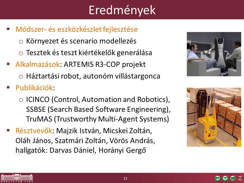 Eredmények  Módszer- és eszközkészlet fejlesztése o Környezet és scenario modellezés o Tesztek és teszt kiértékelők generálása  Alkalmazások: ARTEMIS R3-COP projekt o Háztartási robot, autonóm villástargonca  Publikációk: o ICINCO (Control, Automation and Robotics), SSBSE (Search Based Software Engineering), TruMAS (Trustworthy Multi-Agent Systems)  Résztvevők: Majzik István, Micskei Zoltán, Oláh János, Szatmári Zoltán, Vörös András, hallgatók: Darvas Dániel, Horányi Gergő 11