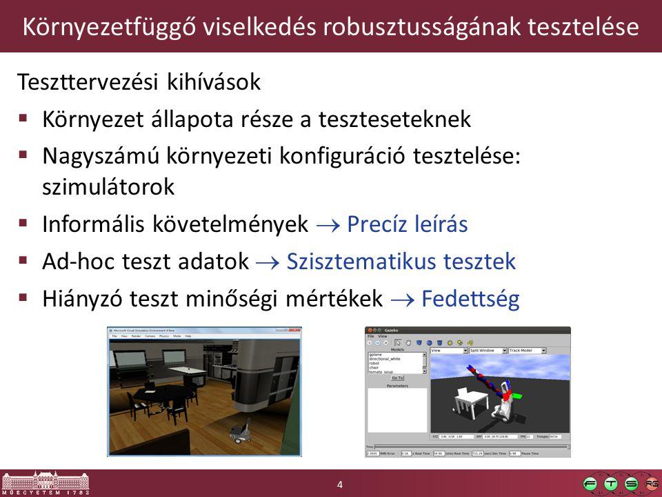 Környezetfüggő viselkedés robusztusságának tesztelése Teszttervezési kihívások  Környezet állapota része a teszteseteknek  Nagyszámú környezeti konfiguráció tesztelése: szimulátorok  Informális követelmények  Precíz leírás  Ad-hoc teszt adatok  Szisztematikus tesztek  Hiányzó teszt minőségi mértékek  Fedettség 4