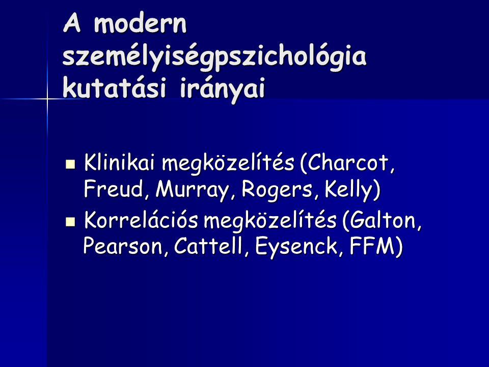 A modern személyiségpszichológia kutatási irányai Klinikai megközelítés (Charcot, Freud, Murray, Rogers, Kelly) Klinikai megközelítés (Charcot, Freud,