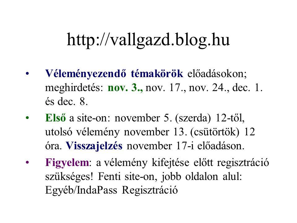 http://vallgazd.blog.hu Véleményezendő témakörök előadásokon; meghirdetés: nov. 3., nov. 17., nov. 24., dec. 1. és dec. 8. Első a site-on: november 5.