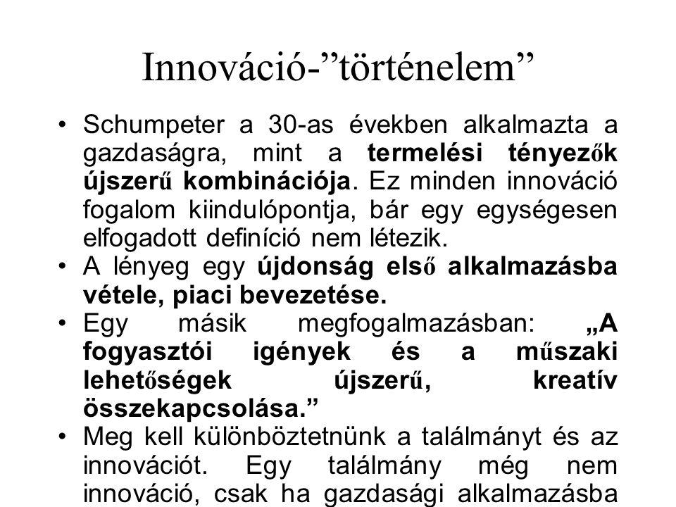 """Innováció-""""történelem"""" Schumpeter a 30-as években alkalmazta a gazdaságra, mint a termelési tényez ő k újszer ű kombinációja. Ez minden innováció foga"""