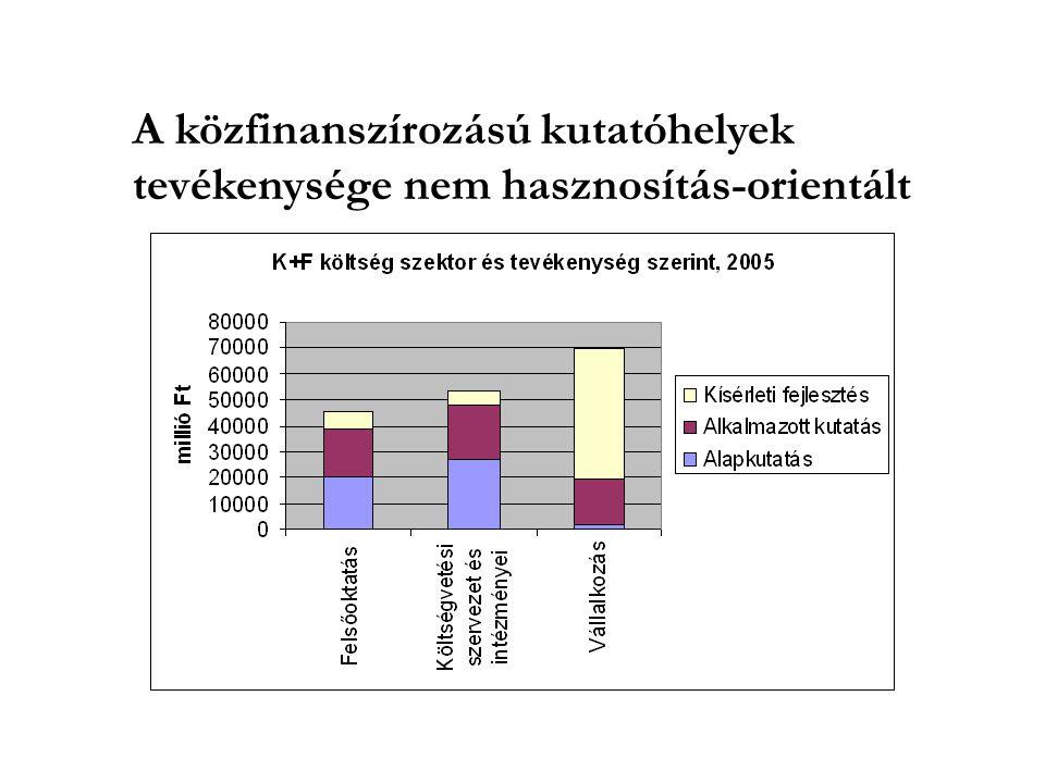 A közfinanszírozású kutatóhelyek tevékenysége nem hasznosítás-orientált