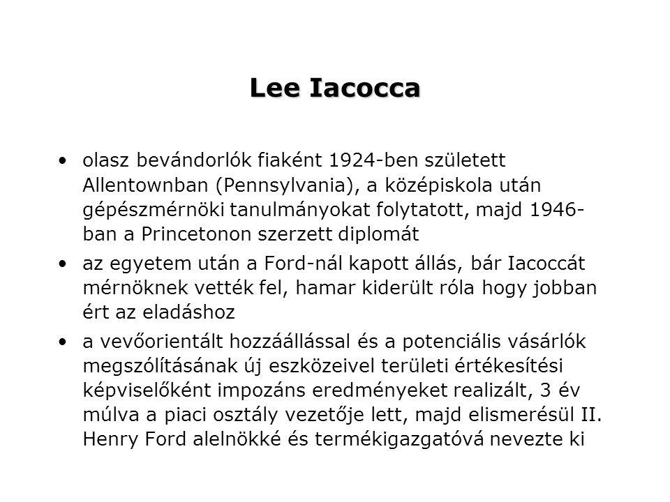 Lee Iacocca olasz bevándorlók fiaként 1924-ben született Allentownban (Pennsylvania), a középiskola után gépészmérnöki tanulmányokat folytatott, majd