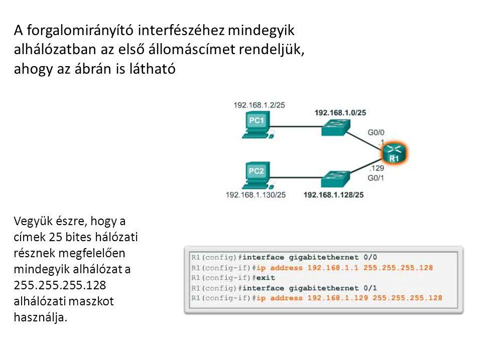 A forgalomirányító interfészéhez mindegyik alhálózatban az első állomáscímet rendeljük, ahogy az ábrán is látható Vegyük észre, hogy a címek 25 bites