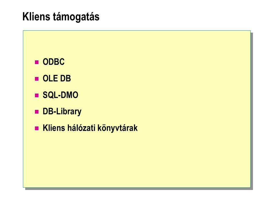 Kliens támogatás ODBC OLE DB SQL-DMO DB-Library Kliens hálózati könyvtárak