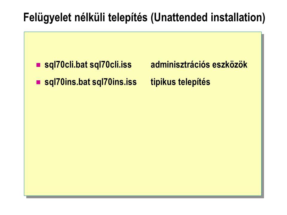 Felügyelet nélküli telepítés (Unattended installation) sql70cli.bat sql70cli.issadminisztrációs eszközök sql70ins.bat sql70ins.isstipikus telepítés