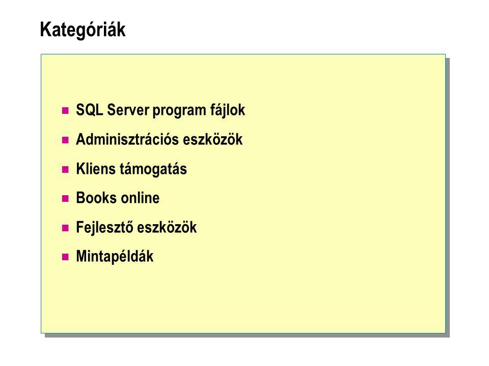 Kategóriák SQL Server program fájlok Adminisztrációs eszközök Kliens támogatás Books online Fejlesztő eszközök Mintapéldák