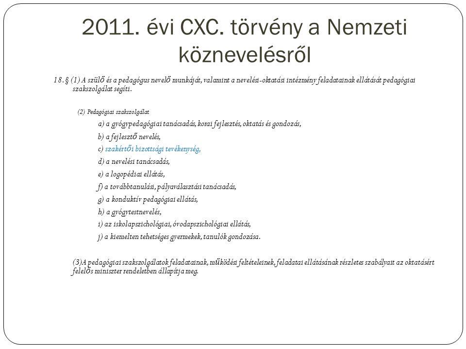 2011.évi CXC. törvény a Nemzeti köznevelésről 18.