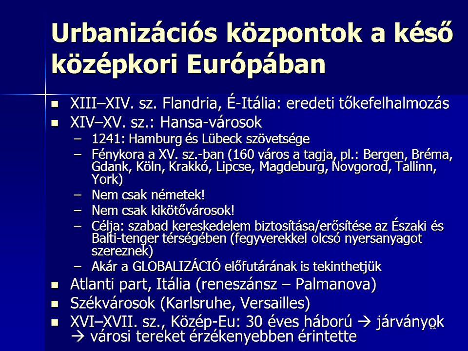 1111 Urbanizációs központok a késő középkori Európában XIII–XIV. sz. Flandria, É-Itália: eredeti tőkefelhalmozás XIII–XIV. sz. Flandria, É-Itália: ere