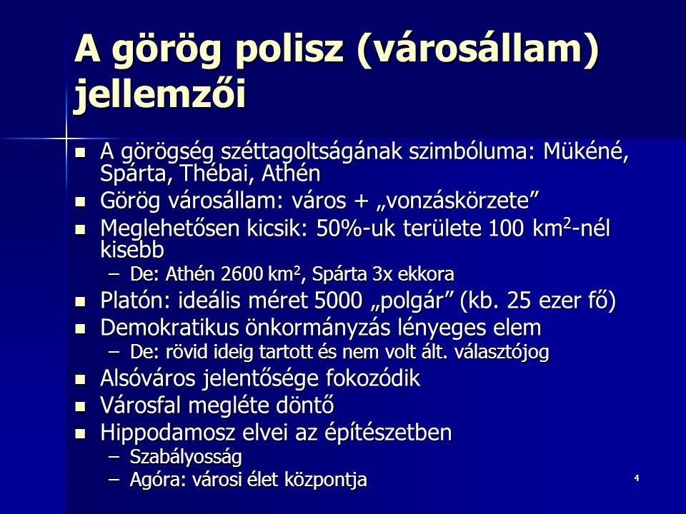 """44 A görög polisz (városállam) jellemzői A görögség széttagoltságának szimbóluma: Mükéné, Spárta, Thébai, Athén A görögség széttagoltságának szimbóluma: Mükéné, Spárta, Thébai, Athén Görög városállam: város + """"vonzáskörzete Görög városállam: város + """"vonzáskörzete Meglehetősen kicsik: 50%-uk területe 100 km 2 -nél kisebb Meglehetősen kicsik: 50%-uk területe 100 km 2 -nél kisebb –De: Athén 2600 km 2, Spárta 3x ekkora Platón: ideális méret 5000 """"polgár (kb."""