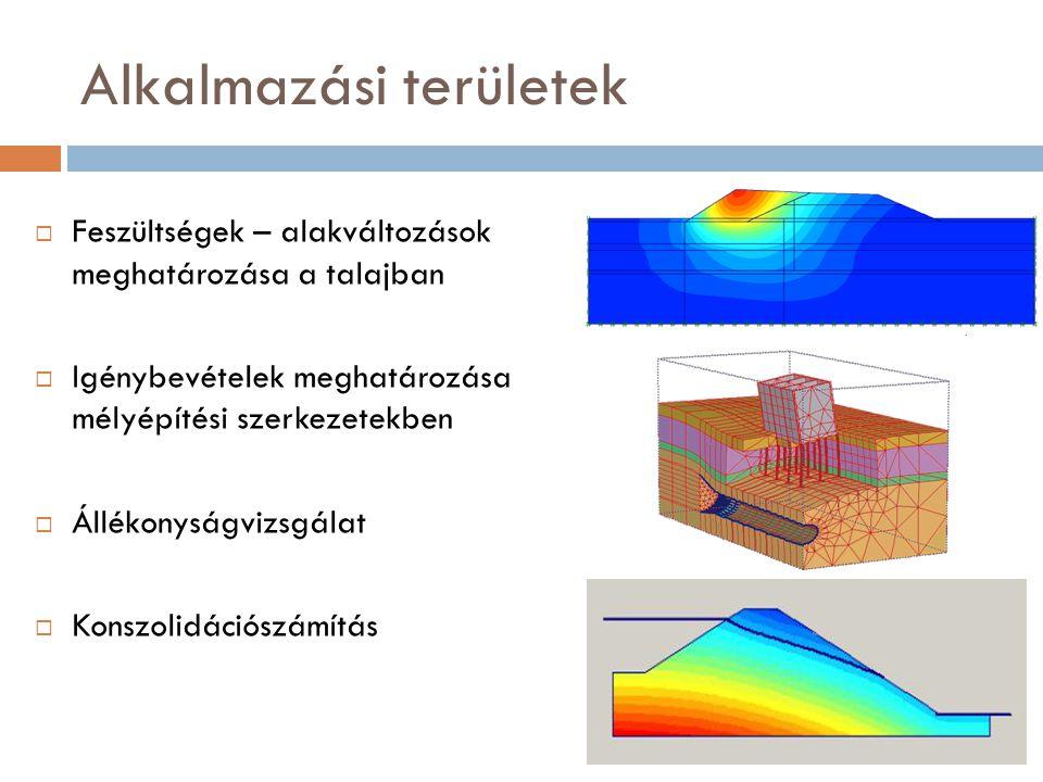 Anyagmodellek - Talaj  Hardening Soil – Felkeményedő modell  Modellparaméterek: f,c, y E 50 merevségi húrmodulus E S összenyomódási modulus E UR újraterhelési modulus