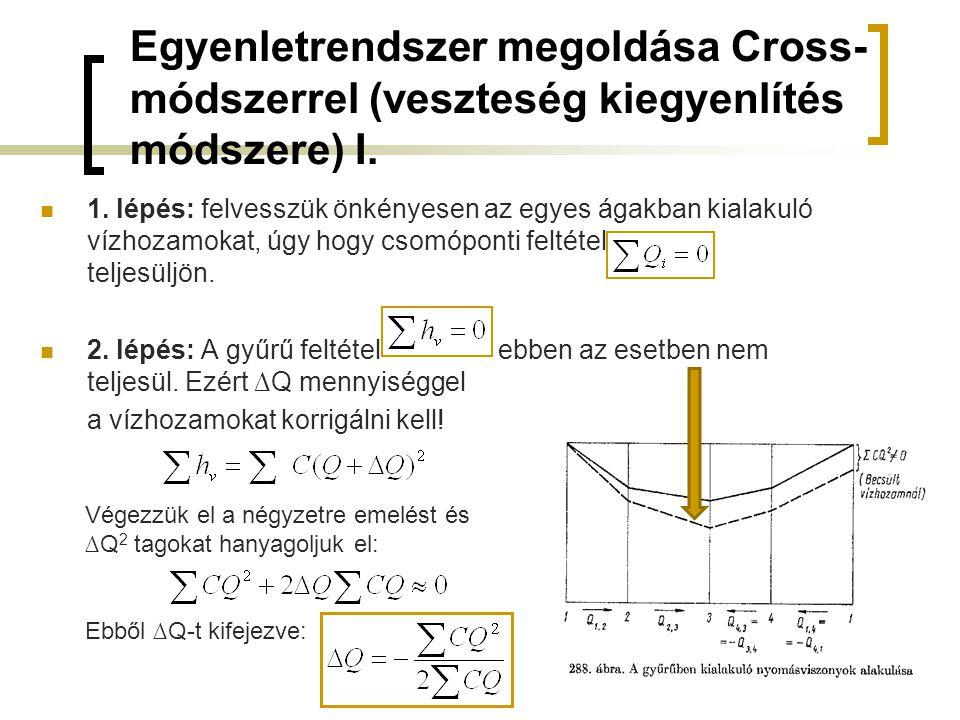 Egyenletrendszer megoldása Cross- módszerrel (veszteség kiegyenlítés módszere) I. 1. lépés: felvesszük önkényesen az egyes ágakban kialakuló vízhozamo