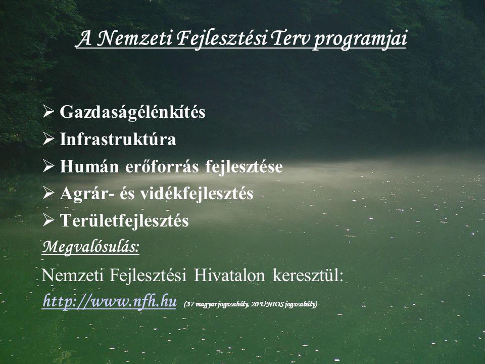 A Nemzeti Fejlesztési Terv programjai  Gazdaságélénkítés  Infrastruktúra  Humán erőforrás fejlesztése  Agrár- és vidékfejlesztés  Területfejlesztés Megvalósulás: Nemzeti Fejlesztési Hivatalon keresztül: http://www.nfh.huhttp://www.nfh.hu (37 magyar jogszabály, 20 UNIOS jogszabály)