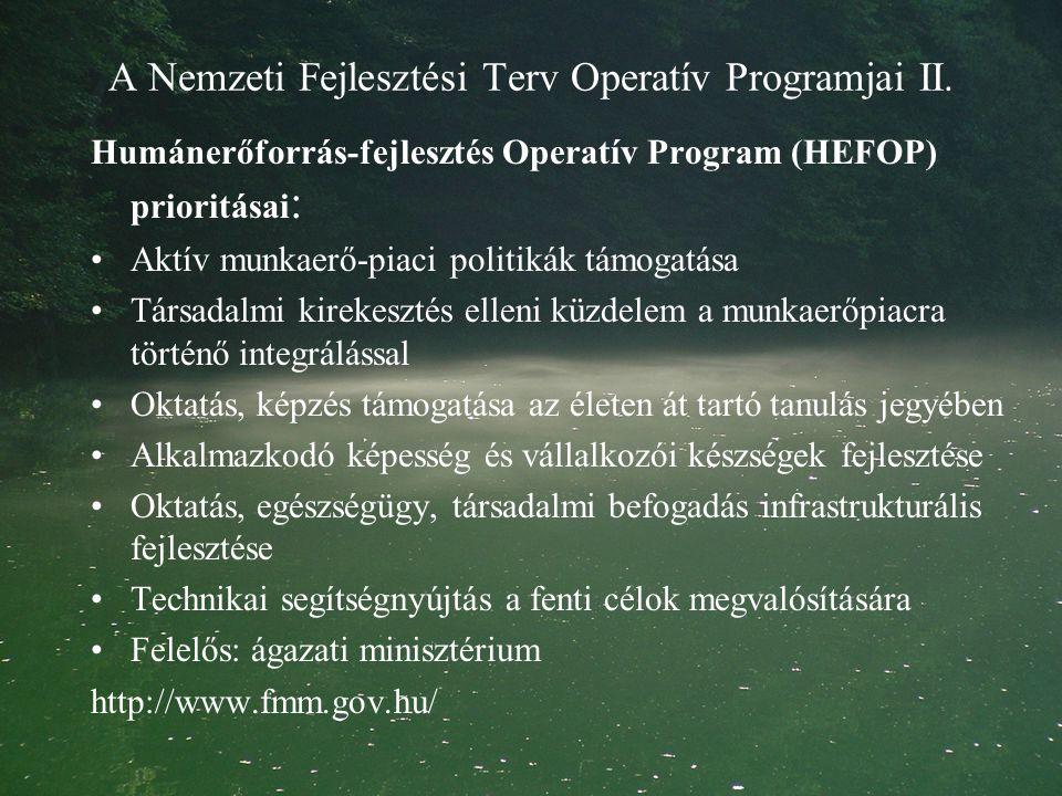 A Nemzeti Fejlesztési Terv Operatív Programjai II.