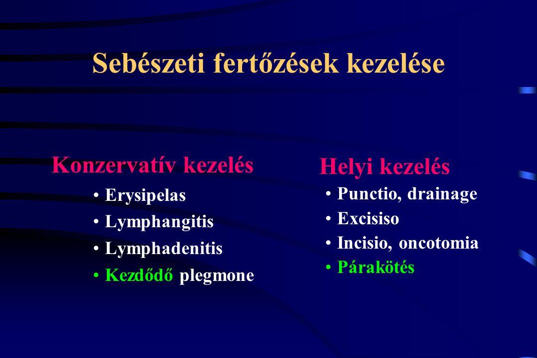 Sebészeti fertőzések kezelése Konzervatív kezelés Erysipelas Lymphangitis Lymphadenitis Kezdődő plegmone Helyi kezelés Punctio, drainage Excisiso Inci