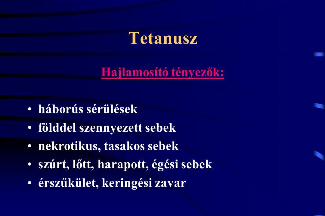 Tetanusz Hajlamosító tényezők: háborús sérülések földdel szennyezett sebek nekrotikus, tasakos sebek szúrt, lőtt, harapott, égési sebek érszűkület, ke