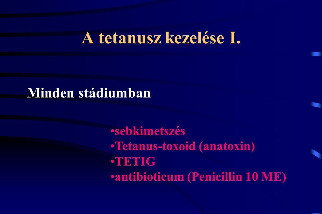 A tetanusz kezelése I. Minden stádiumban sebkimetszés Tetanus-toxoid (anatoxin) TETIG antibioticum (Penicillin 10 ME)